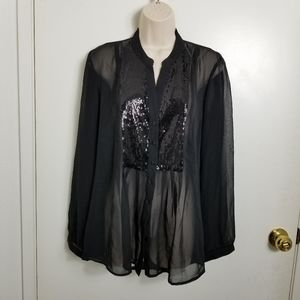 Roz &Ali NWT Black Sequined Sheer Blouse